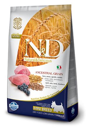 Сухой корм Farmina Natural&Delicious Low Grain Lamb&Blueberry Puppy Mini низкозерновой для щенков мелких пород