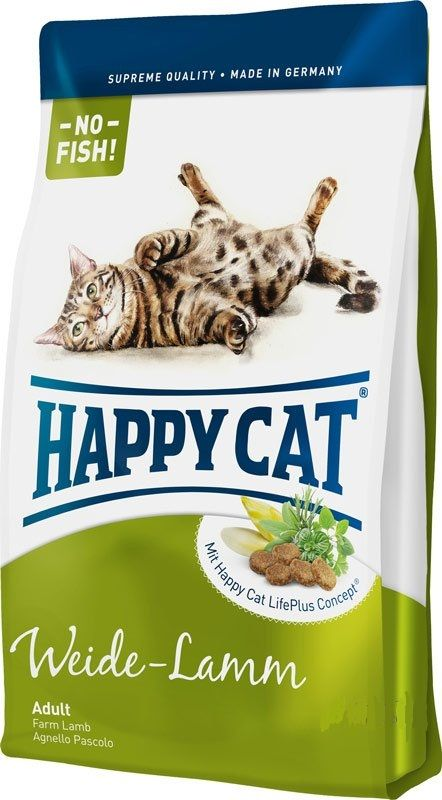 Сухой корм Happy Cat Adult Fit&Well Weide-Lamm с ягненком для кошек