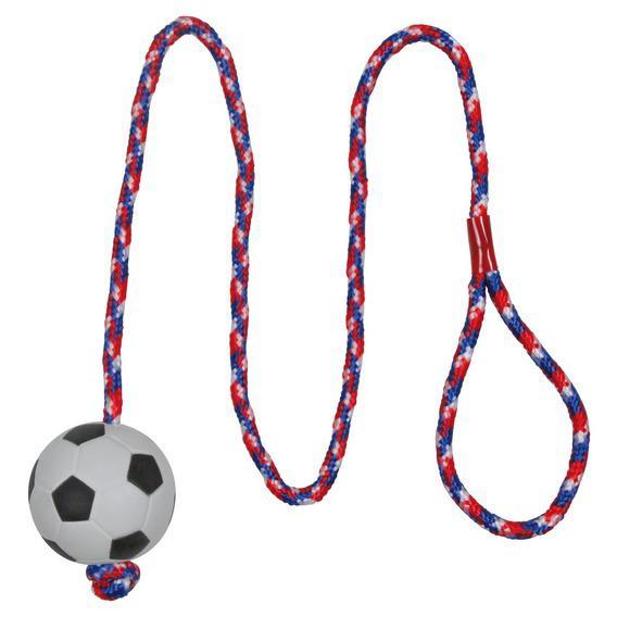 Игрушка Trixie Мяч футбольный на веревке для собак