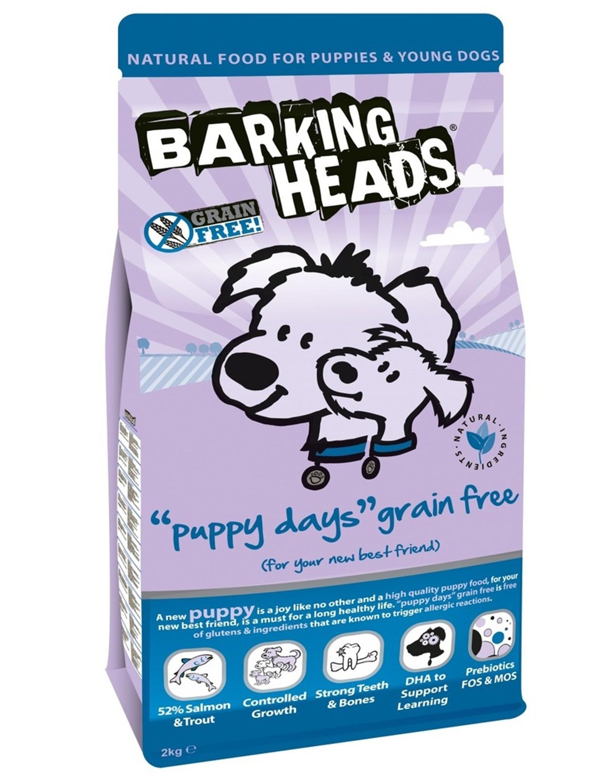 """BARKING HEADS беззерновой корм для щенков с Лососем и Бататом """"Щенячьи деньки"""""""
