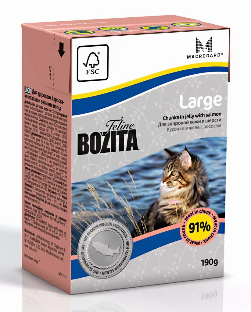 Консервы Bozita Large для кошек крупных пород кусочки в желе с Лососем 190г