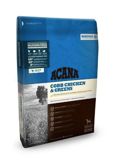 Сухой корм Acana Heritage Cobb Chicken&Greens с цыпленком и зеленью беззерновой для собак