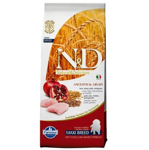 Сухой корм Farmina Natural&Delicious Low Grain Puppy Maxi низкозерновой для щенков крупных пород