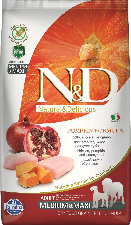 Сухой корм Farmina Natural&Delicious Grain Free Pumpkin Chicken&Pomegranate Adult Medium&Maxi для взрослых собак средних и крупных пород