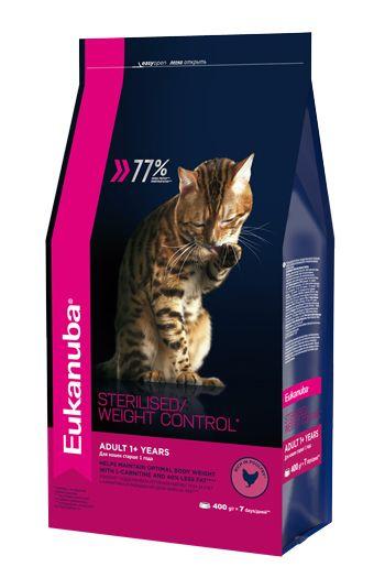 Сухой корм Eukanuba Adult Sterilised Weight Control с курицей для стерилизованных кошек