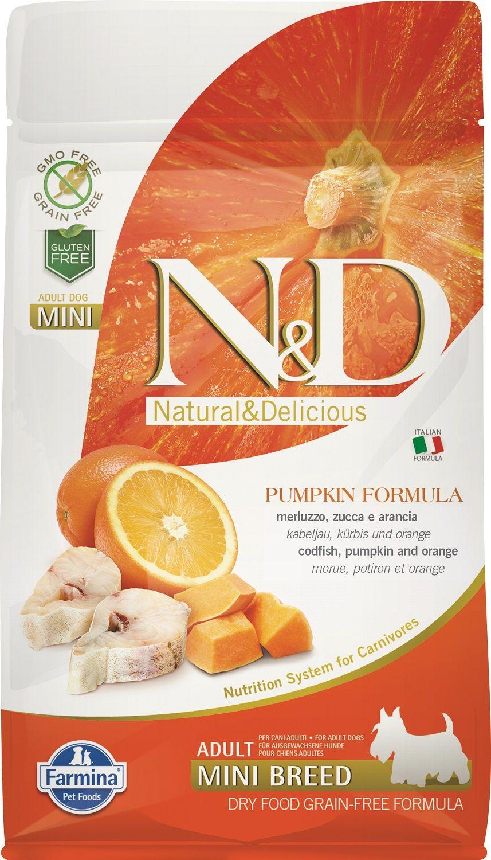 Сухой корм Farmina Natural&Delicious Grain Free Pumpkin Codfish&Orange Adult Mini со вкусом трески, тыквы и апельсина для взрослых собак мелких пород