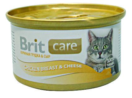 Консервы Brit Care Chicken Breast&Cheese с куриной грудкой и сыром для кошек