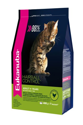 Сухой корм Eukanuba Hairball Control Adult для выведения шерсти из желудка кошек