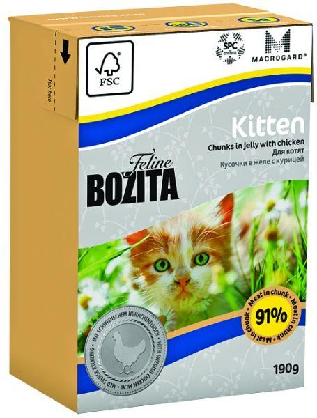 Консервы Bozita Feline для котят и беременных кошек кусочки в желе с Курицей 190г