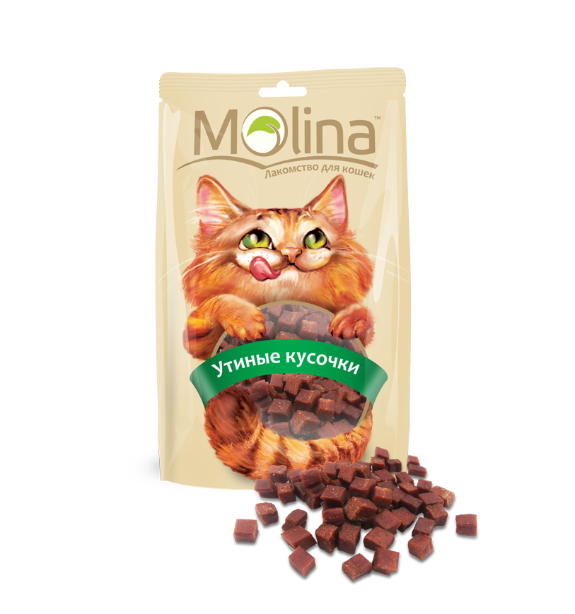 Лакомство Molina Утиные кусочки для кошек, 80 г