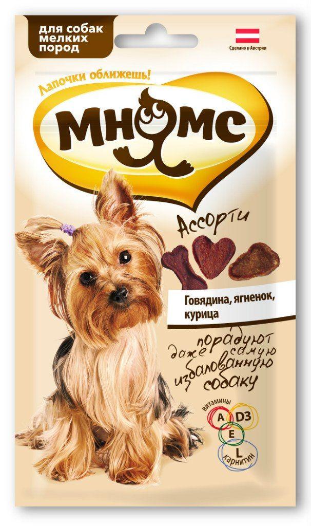 Лакомство Мнямс ассорти для собак мелких пород с говядиной, ягненком и курицей 60 г
