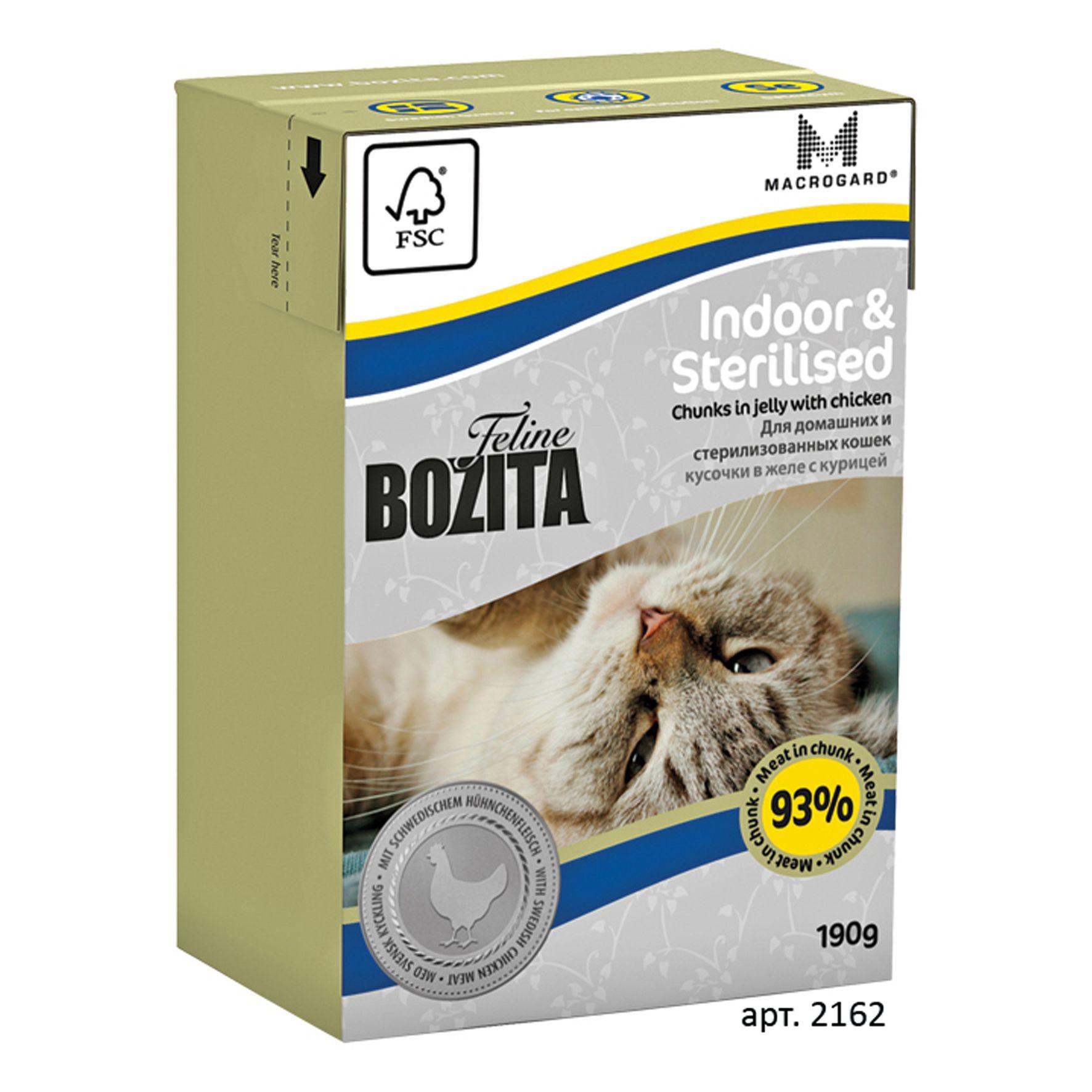 Консервы Bozita Indoor & Sterilised для домашних и стерилизованных кошек кусочки в желе с Курицей 190 г