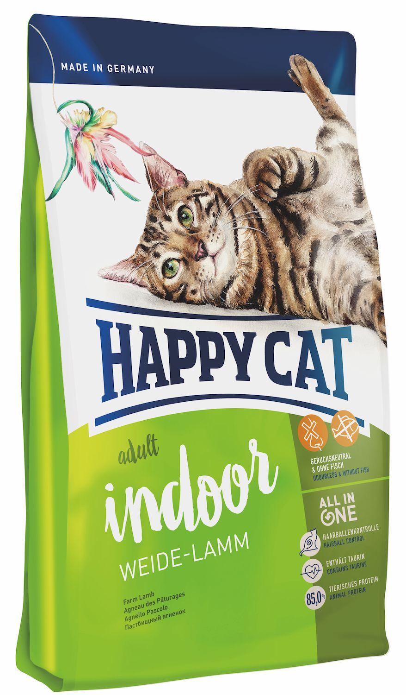 Сухой корм Happy Cat Adult Indoor Weide-Lamm с ягненком для кошек