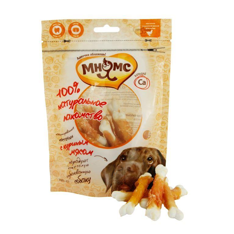 Лакомство Мнямс кальцинированные косточки с куриным мясом для собак 100 г
