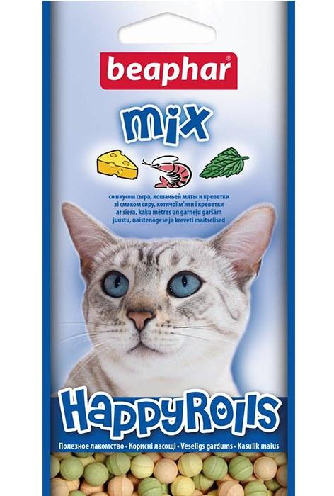 Лакомство Beaphar Happy Rolls Mix со вкусом креветок, мяты и сыра для кошек