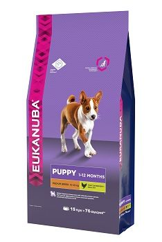 Сухой корм Eukanuba Puppy Medium Breed для щенков средних пород