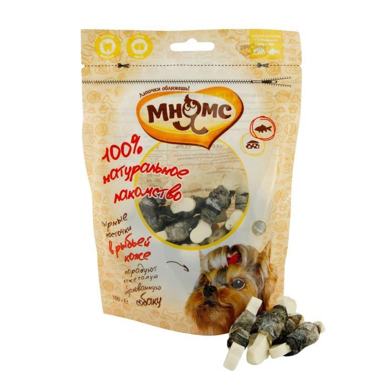 Лакомство Мнямс сырные косточки в рыбьей коже для собак 100 г