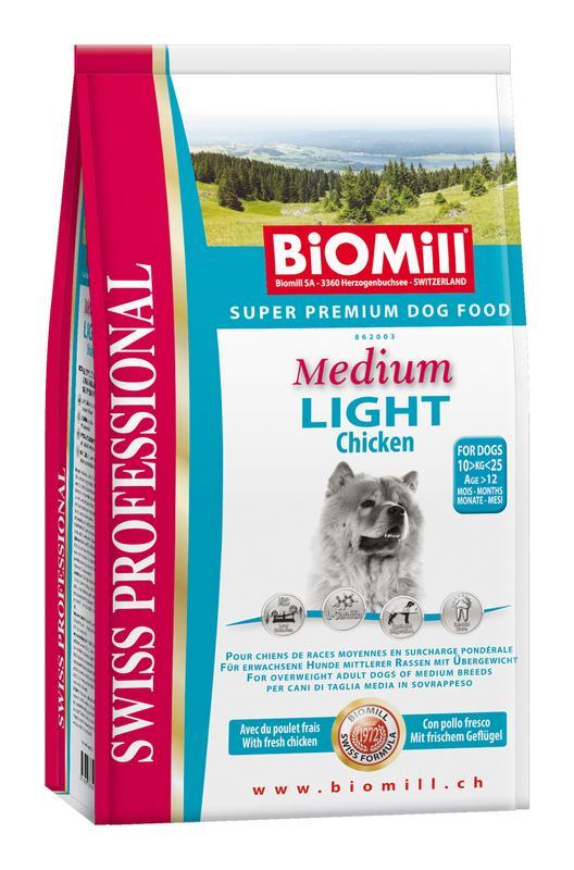 Сухой корм Biomill Swiss Professional Medium Light для собак с избыточным весом