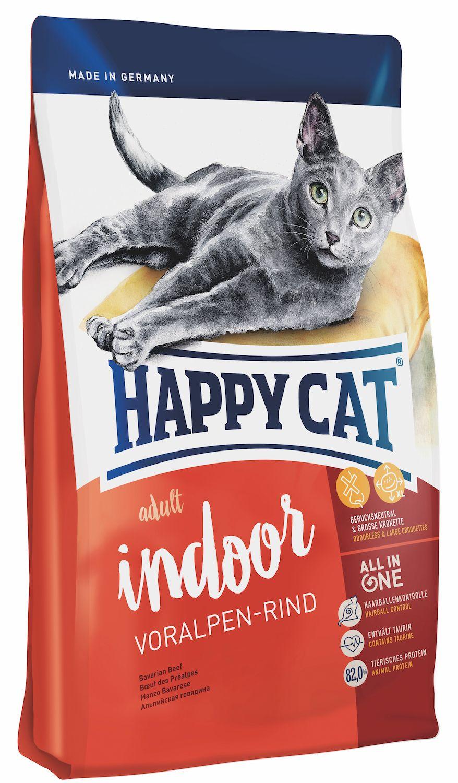 Сухой корм Happy Cat Adult Indoor Voralpen-Rind с альпийской говядиной для кошек
