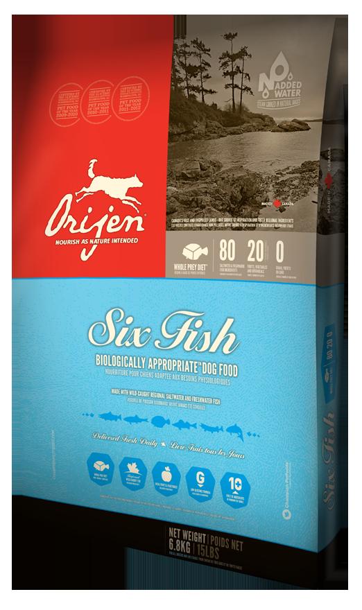 Сухой корм Orijen Adult 6 Fish для взрослых собак