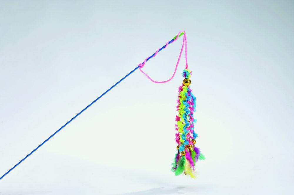 Игрушка I.P.T.S. удочка 6 вельветовых хвостиков с перьями для кошек, 46 см