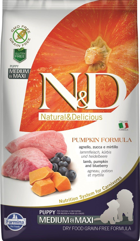 Сухой корм Farmina Natural&Delicious Grain Free Pumpkin Lamb&Blueberry Puppy для щенков средних и крупных пород