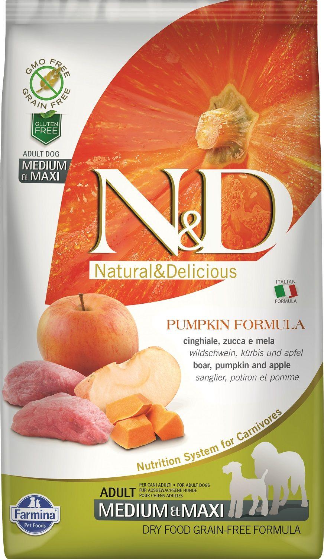 Сухой корм Farmina Natural&Delicious Grain Free Pumpkin Boar&Apple Adult Medium&Maxi для взрослых собак средних и крупных пород