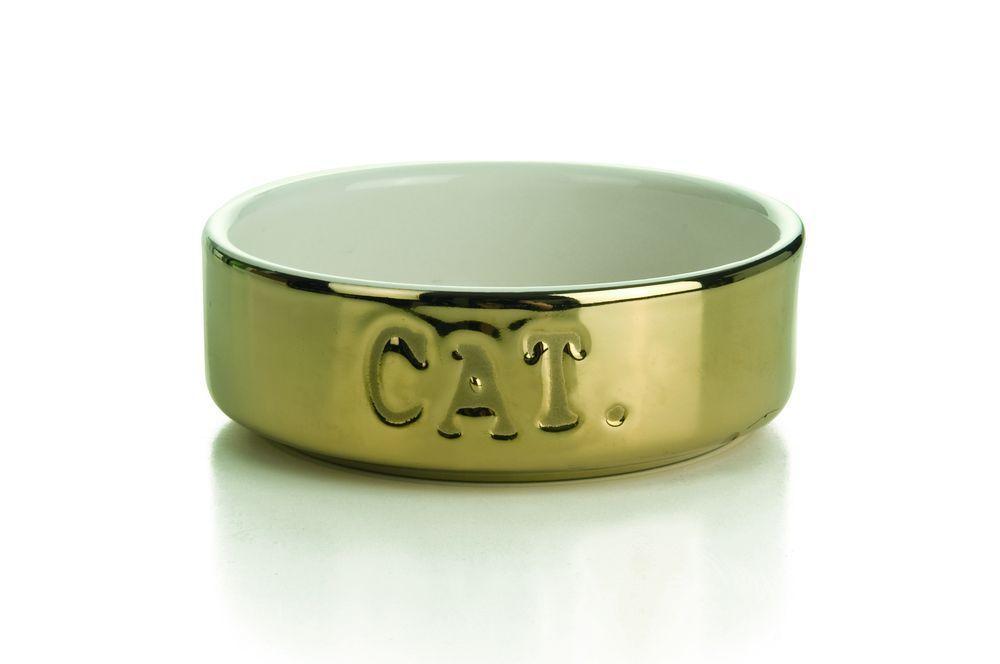 Миска I.P.T.S. для кошек керамическая золотая