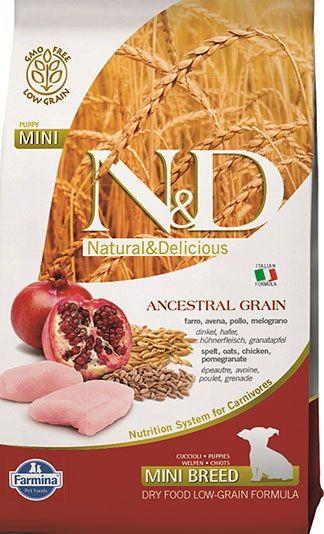 Сухой корм Farmina Natural&Delicious Low Grain Puppy Mini низкозерновой для щенков мелких пород