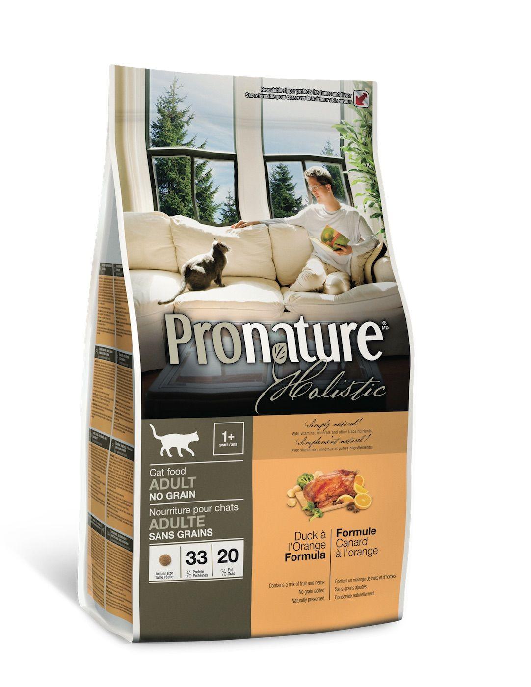Сухой корм Pronature Holistic с уткой и апельсином беззерновой для кошек