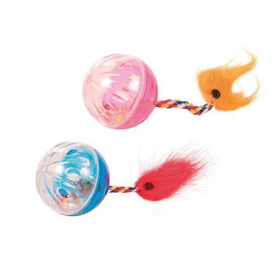 Игрушка Trixie для кошки, мячи с хвостами, 4 см, 2 шт., набор