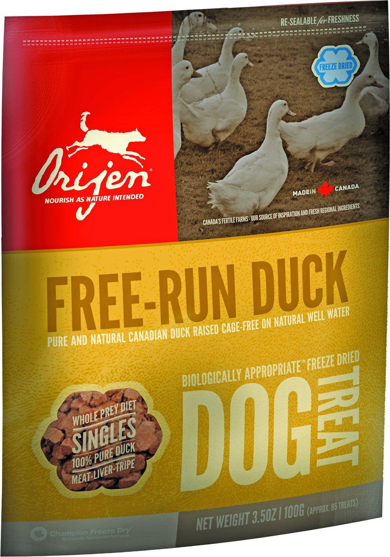 Сублимированное лакомство Orijen Free-Run Duck с уткой для собак