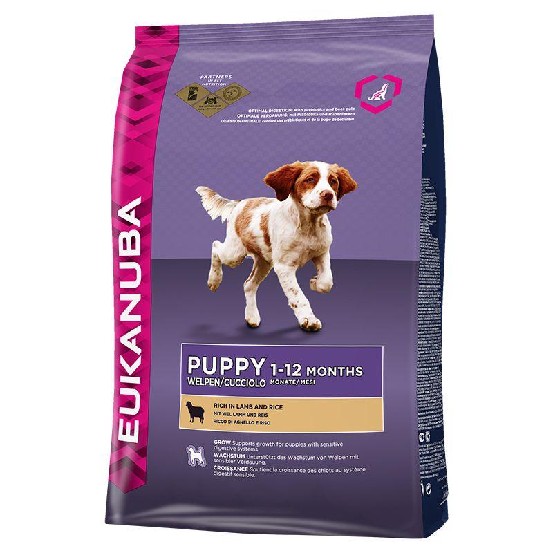 Сухой корм Eukanuba Puppy Lamb&Rice для щенков всех пород