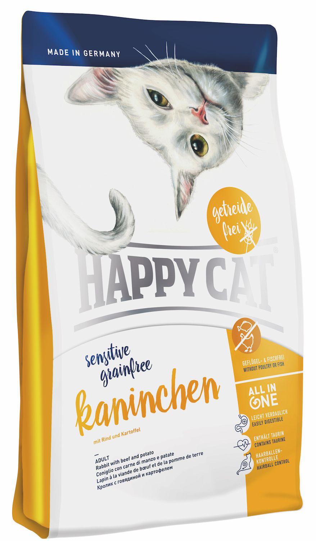 Сухой корм Happy Cat Adult Sensitive Grainfree Kaninchen с кроликом для кошек