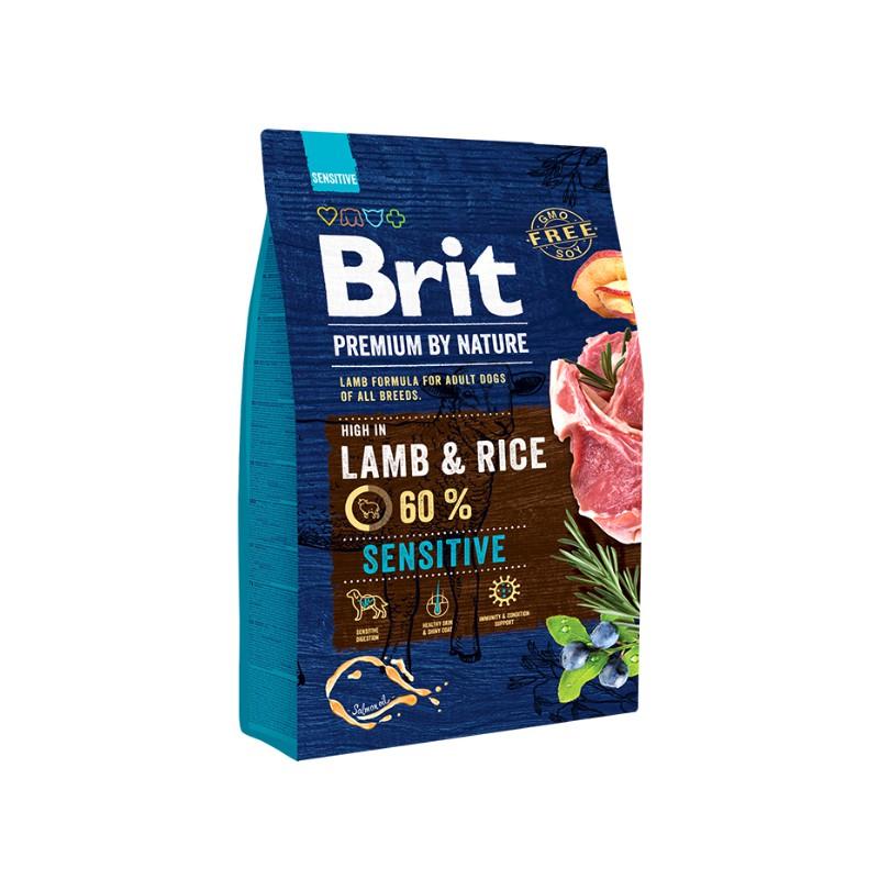 Сухой корм Brit Premium by Nature Lamb&Rice гипоаллергенный для собак всех пород