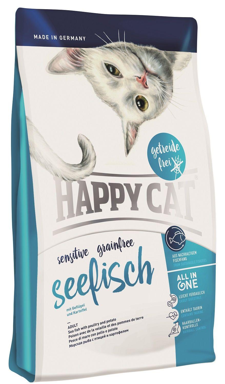 Сухой корм Happy Cat Adult Sensitive Grainfree Seefisch с морской рыбой для кошек