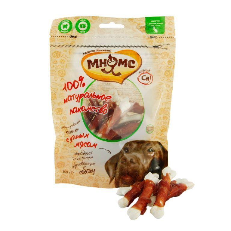 Лакомство Мнямс кальцинированные косточки с утиным мясом для собак 100 г