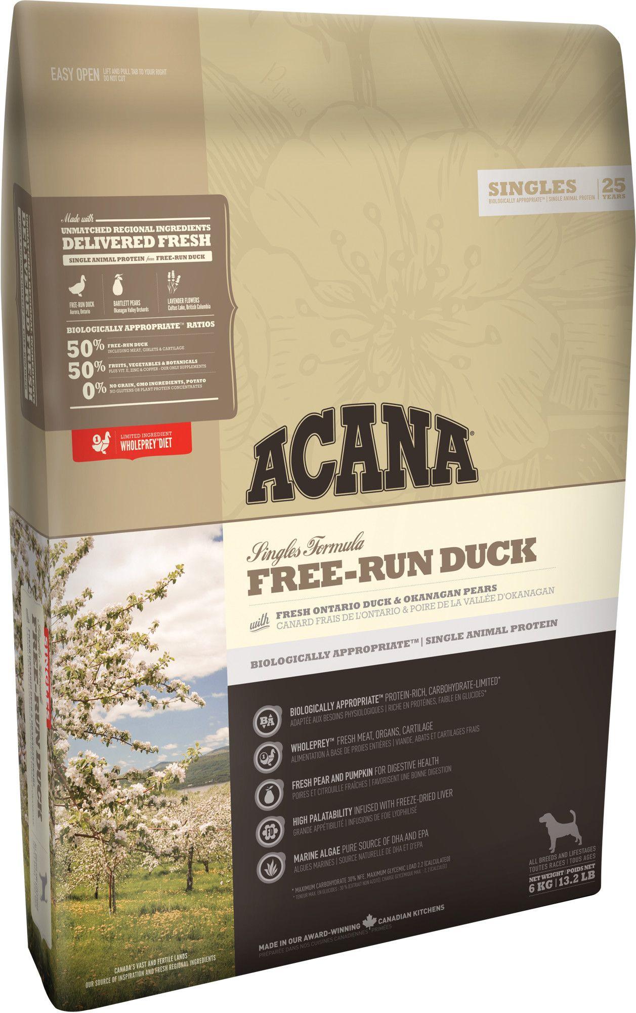 Сухой корм Acana Singles Free-Run Duck с уткой беззерновой для собак
