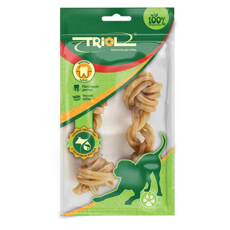 Кость Triol плетеная с маслом лосося для собак