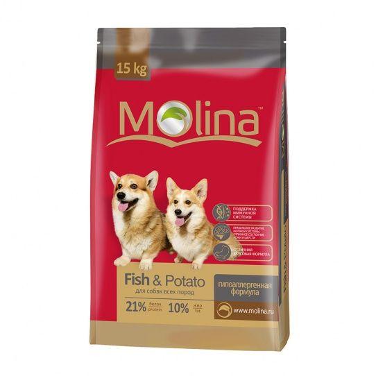 Сухой корм Molina Adult Lamb & Rice Adult Fish & Potatoes для всех пород, Рыба и картофель