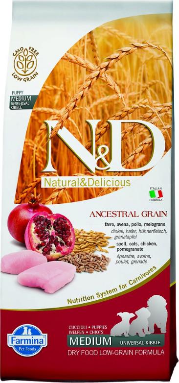 Сухой корм Farmina Natural&Delicious Low Grain Puppy низкозерновой для щенков всех пород