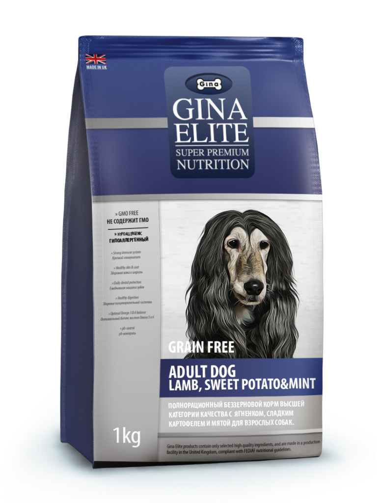 GINA Elite Grain Free Adult Dog Lamb, Sweet Potato&Mint беззерновой корм для собак
