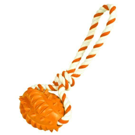 Игрушка Trixie Мяч-регби рифленый на веревке для собак