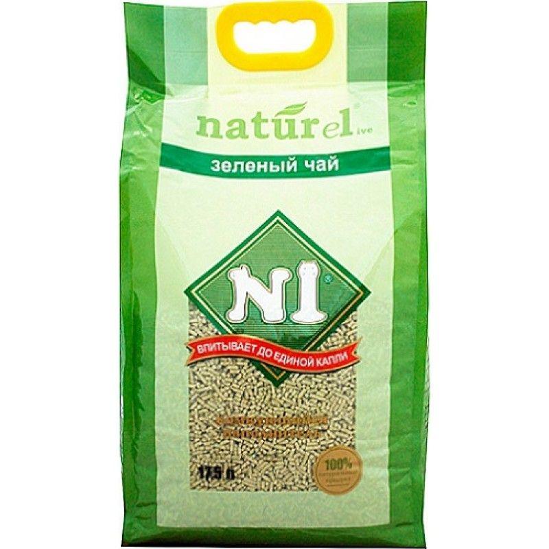 Наполнитель №1 Naturel зеленый чай древесный комкующийся для кошек