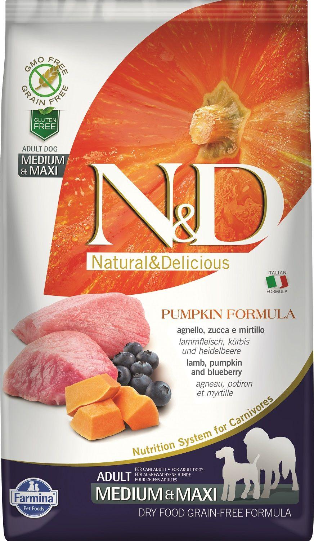 Сухой корм Farmina Natural&Delicious Grain Free Pumpkin Lamb&Blueberry Adult для взрослых собак средних и крупных пород
