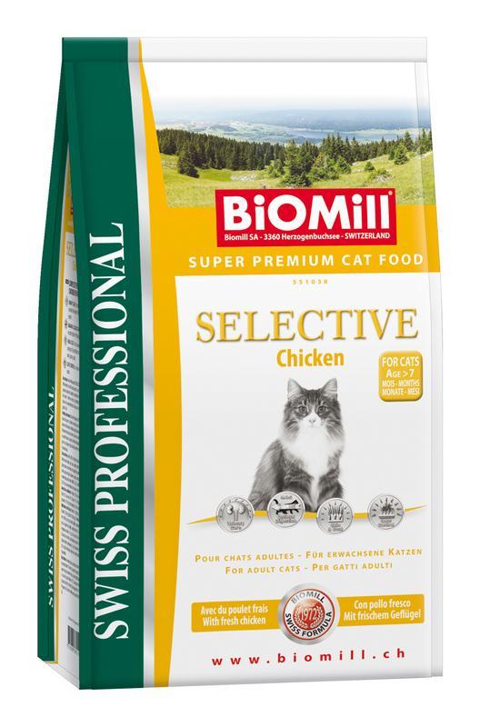 Сухой корм Biomill Swiss Professional Cat Selective Chicken с индейкой и цыпленком для взрослых кошек