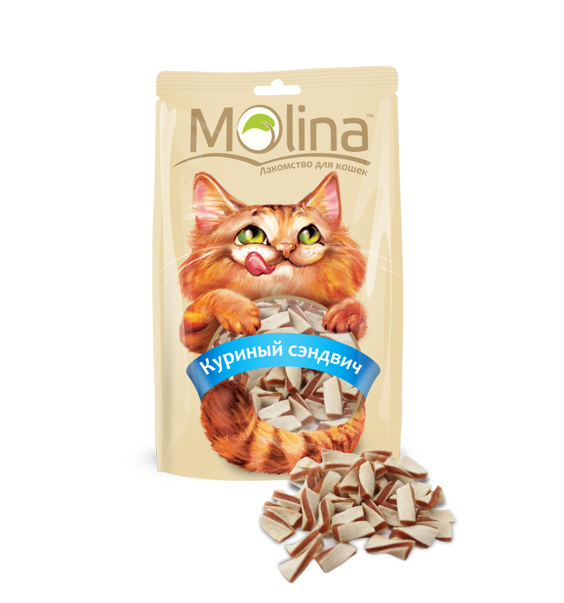 Лакомство Molina куриный сэндвич для кошек 80 г