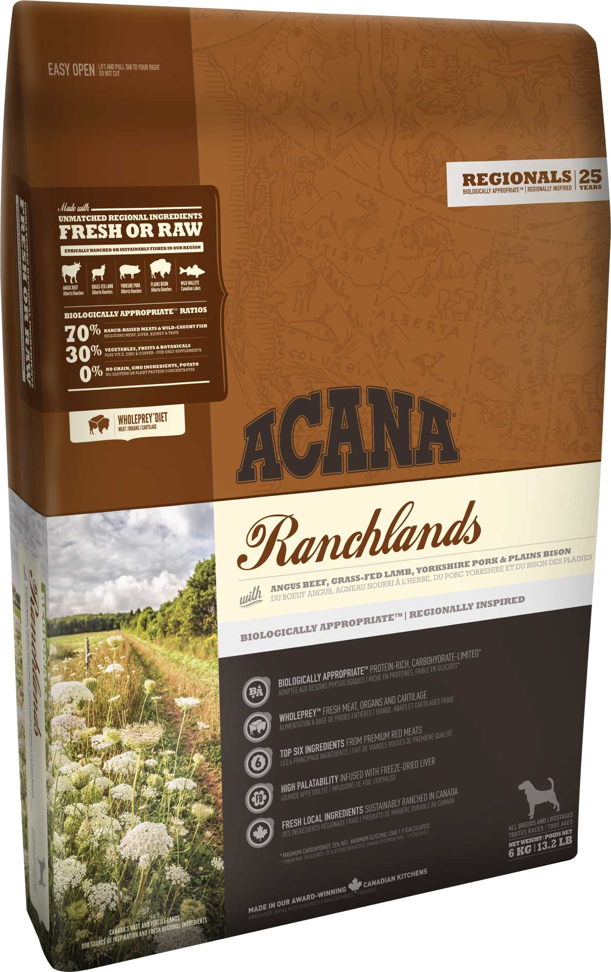 Сухой корм Acana Regionals Ranchlands беззерновой для взрослых собак всех пород