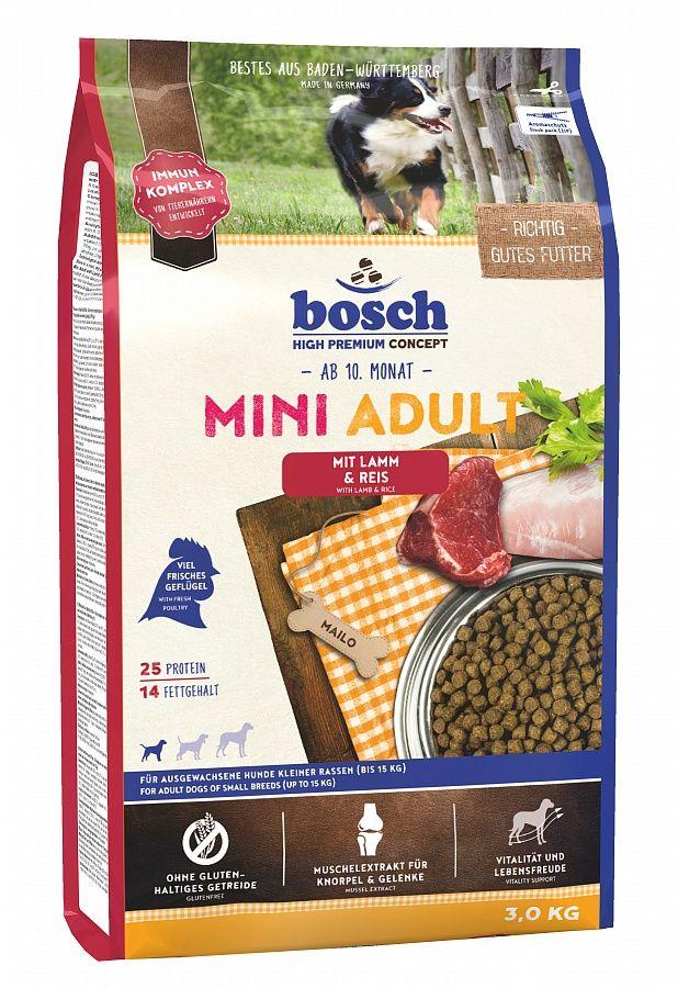 Сухой корм Bosch Mini Adult Lamb&Rice ягненок и рис для взрослых собак мелких пород