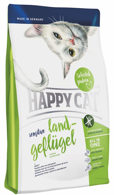 Сухой корм Happy Cat Adult Sensitive Land Geflugel с домашней птицей для кошек